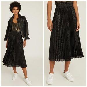 Reiss Marianne Mesh Pleated Midi Skirt in Black
